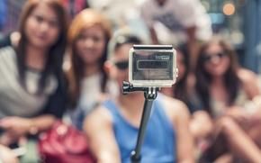 Picture people, camera, shooting, selfie, GoPro, monopod