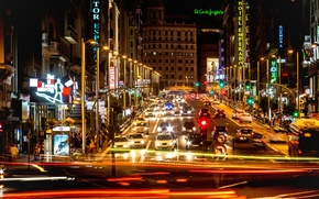 Picture night, movement, Spain, night, Spain, Madrid, Madrid, movement, exposure