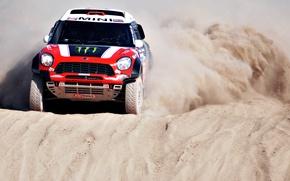 Picture Sand, Dune, Mini, Red, The front, Side view, Dakar, Mini, SUV, Race, Rally, X-raid, Mini ...