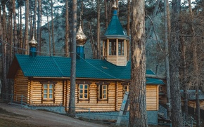 Picture forest, house, Church, faith, building