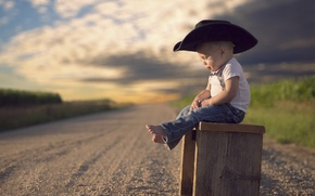 Picture road, hat, boy, child, bokeh
