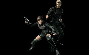 Picture girl, gun, pistol, game, soldier, weapon, Resident Evil, red eyes, man, Umbrella, blond, blonde, evil, …