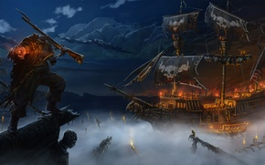 Picture sea, night, fog, fire, ship, skull, art, pirate, without a head, the gun, undead, Andrej …