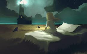 Wallpaper field, lighthouse, bed, sleep, girl, sharks