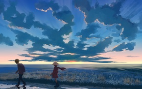 Picture the sky, clouds, sunset, nature, hat, anime, boy, art, girl, hangmoon