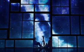 Picture the sky, cat, stars, night, anime, scarf, window, art, guys, telescope, tamagotchi