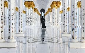 Picture reflection, figure, columns, in black, Golden walk