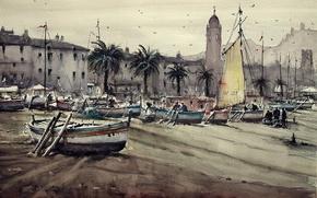 Picture shore, tower, picture, boats, watercolor, the urban landscape, Maximilian DAmico