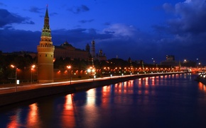 Picture Night, River, Moscow, The Kremlin