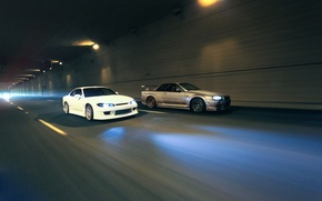 Picture nissan, the tunnel, skyline, Nissan, jdm, tuning, silvia, gtr, power, speed, r34, s15, skyline