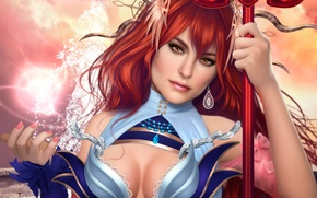 Wallpaper beauty, staff, girl, anime, face, art, MAG, red, magic, Lana Solaris