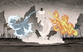 Picture water, fire, earth, element, magic, the air, battle, avatar, avatar, The Legend of Korra, Avatar: …