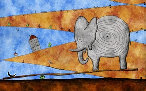 Picture abstraction, elephant, a month