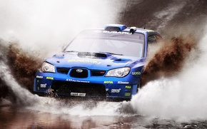 Picture Water, Subaru, Impreza, Machine, The hood, Dirt, Day, Squirt, Lights, WRC, Rally, Rally, Mikko Hirvonen