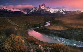 Picture clouds, snow, sunset, mountains, stream, stones, hills, tops, Andes, Patagonia, Wallpaper from lolita777