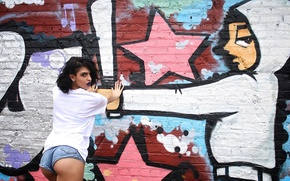 Picture girl, pose, wall, Alexandria