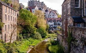 Picture landscape, river, stream, home, Scotland, Edinburgh, Dean Village