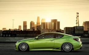 Picture green, green, coupe, profile, tuning, hyundai, Hyundai, stance, genesis, Genesis
