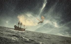 Picture sea, wave, storm, rain, fire, dragon, ship