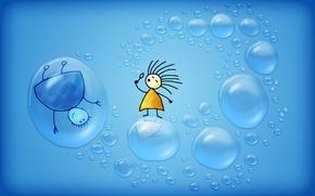 Picture minimalism, men, Bubbles