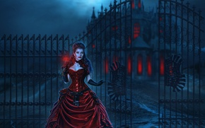 Picture girl, night, castle, red, the moon, the fence, dress, Moon, Night, Dress, fatal