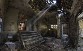 Picture the wreckage, the building, stage, devastation, abandonment, the room, the sun's rays, mold