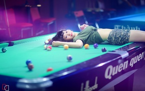 Picture girl, table, Billiards