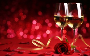Picture holiday, wine, rose, glasses, bokeh