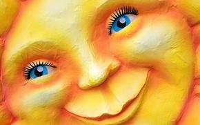 Picture the sun, smile, Germany, carnival, Dusseldorf, North Rhine-Westphalia