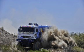 Picture sand, the sky, stones, speed, dust, turn, skid, truck, Russia, the bushes, kamaz, russia, KAMAZ, …