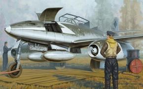 Picture war, art, airplane, painting, aviation, jet, ww2, Messerschmitt Me 262