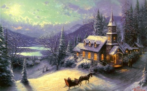 Picture winter, road, forest, light, snow, mountains, lake, stay, horse, figure, home, picture, ate, art, drawings, ...