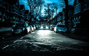 Wallpaper bike, cars, Chiswick, winter, home, England, trees, London, street, silhouette, lamppost, the sky, headlight