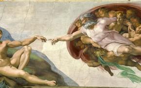 Picture Michelangelo, Creation of Adam, Vatican, Religion, Sistine Chapel