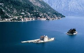 Picture sea, Islands, Church, Bay, the monastery, Adriatica, Montenegro, Boca Smaller Broad, Perast