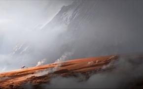 Picture mountains, rock, horse, smoke, art, rider, travelers