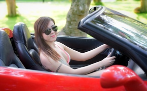 Picture summer, look, girl, face, glasses, Asian, car