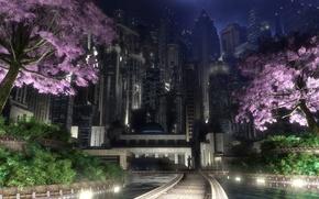 Picture night, the city, lights, digital, spring, gotham garden, flowering trees