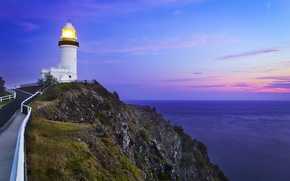 Picture road, sea, the sky, sunset, rocks, lighthouse
