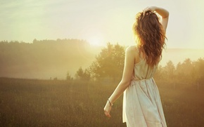 Picture girl, the sun, nature, morning