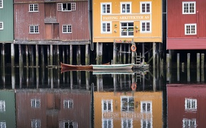 Picture the city, boats, Norway, Trondheim