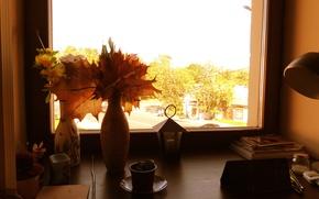 Picture leaves, Autumn, window, vase