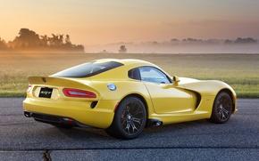 Picture field, yellow, fog, Dodge, Dodge, supercar, drives, Viper, rear view, GTS, Viper, SRT