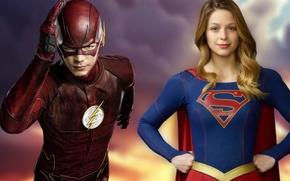 Picture supergirl, crossover, Flash, Barry Allen, Kara Denver