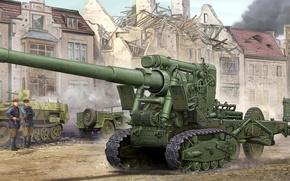 Picture large, art, 152, artist, gun, operation, WWII, artillery, caliber, Soviet, WW2, towing, sample, power, offensive, …