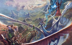 Wallpaper the sky, mountains, magic, lightning, elf, Dragon, bow, battle