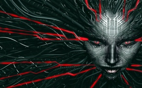Picture fiction, network, the game, head, art, System Shock 2, SHODAN