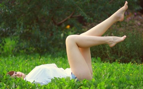 Picture girl, grass, legs, feet, relaxing, hapiness