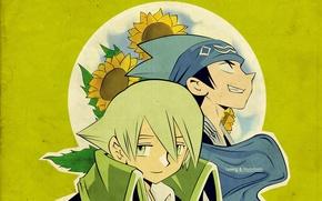 Picture leaves, sunflowers, green, Lyserg., Shaman king, Horokeu Usui