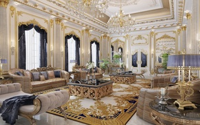 Picture design, Villa, interior, chairs, luxury, sofas, living room, chandeliers